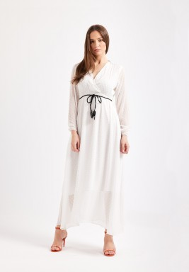 White Plunge Maxi Dress