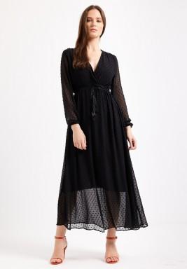Black Plunge Maxi Dress