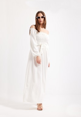 White Off Shoulder Maxi Dress
