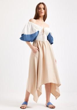 Color Block Off Shoulder Dress