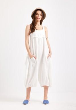 White Front Pocket Jumpsuit