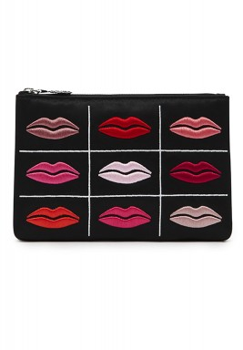 Black purse multicolored lip prints