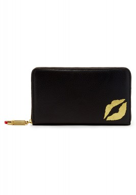 Yellow lip black wallet