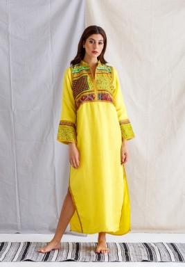 Yellow Embroidered Slit Kaftan