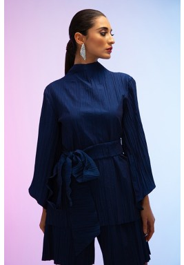 Navy High Neck Belted Top