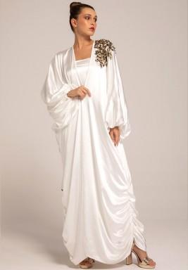 White Silky Crepe Bisht with One Embellished Shoulder