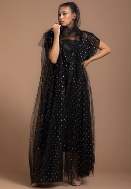 Black Silver Tulle Metallic Evening Abaya