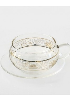 Pearl & Coral Gold Glass cup & Saucer