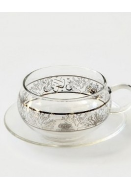 Pearl & Coral Platinum Glass Cup & Saucer
