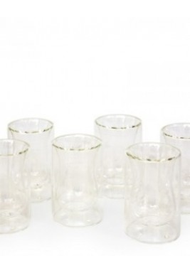 White Dotted Double Wall Tea Glass - Set of 6