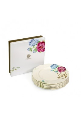 "7.5"" Dessert Plate with Hand drawn Peony Flower Design"