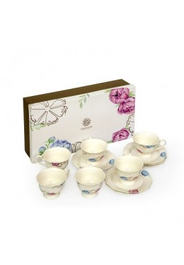 Tea Cup and Saucer Set with Hand drawn Peony Flower Design