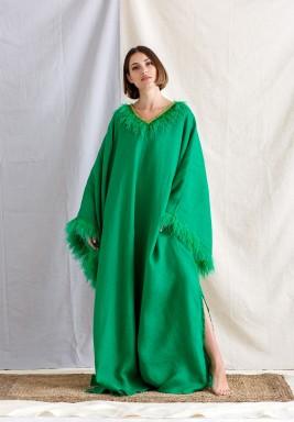 Green Feathers Oversized Kaftan