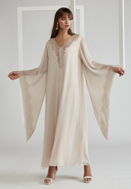 Trimmed Triangular Sleeve Silk Chiffon Dress