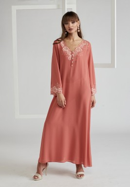 Trimmed Silk Crepe Dress