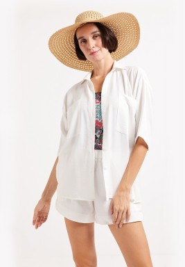 Oversized Linen Shirt - White