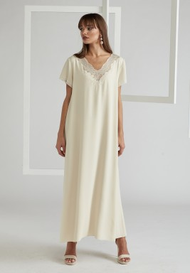 Trimmed Half Sleeve Silk Crepe Dress