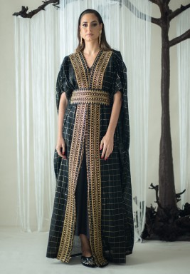Black Checked Gold Embroidered Kaftan