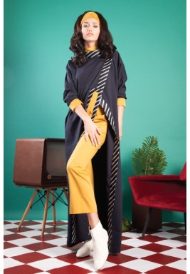 Color Blocked Kamaya in Navy and Mustard