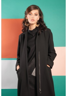 Maxi Classic Collared Overcoat in Black