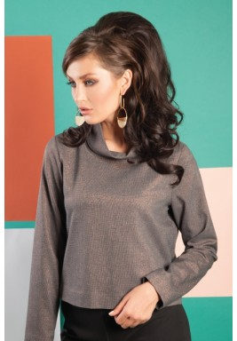 Loose Turtleneck Cropped Top in Sparkle Cinnamon