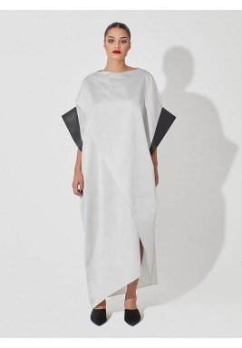 White Overlapping Geometric Raw Silk Kaftan