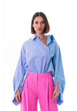 Blue Striped Asymmetric Shirt
