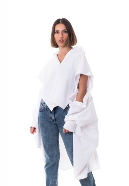 White Cut Out Sleeves Oversized Shirt