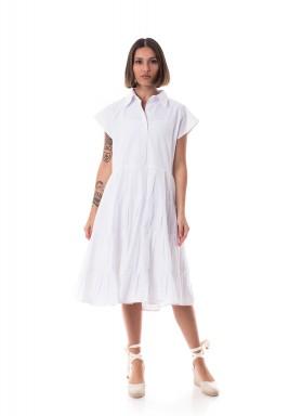 White Short Sleeves Shirt Dress
