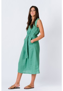 Sleeveless Green Linen Dress