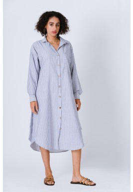 Striped Long Shirt Dress