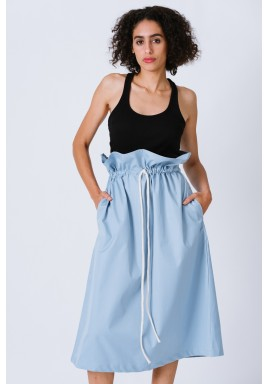 Blue High Waist Paper Bag Skirt