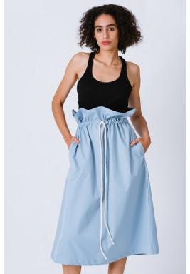 Blue High Waist Paper Bag Skirt