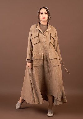 Taupe Crinkled Pocket Kaftan