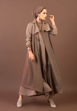 Taupe Midi Trench Coat - Preorder