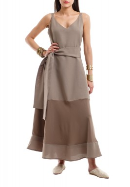 Taupe Sleeveless Dress-Pre order