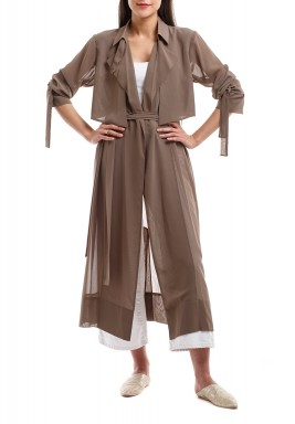Taupe Chiffon Trench Coat