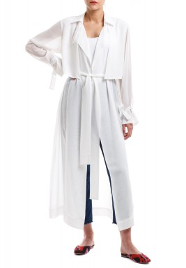 Off White Chiffon Trench Coat