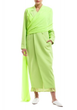 Lime Neon Shawl Blazer Dress