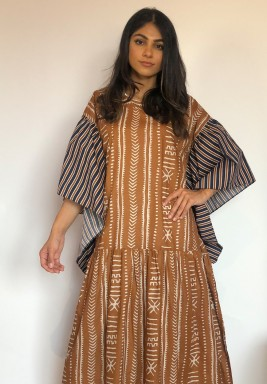 Brown Sadu Print Ruffled Kaftan
