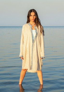 Blue & Beige Sanremo Striped dress