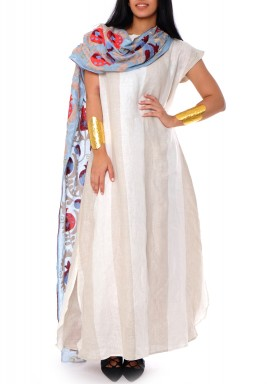 Karmin White Sari Style Kaftan