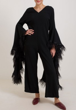 Black Feather V-Neck Jumpsuit