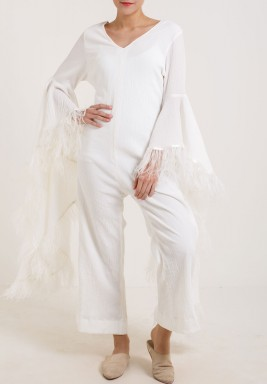 White Feather V-Neck Jumpsuit