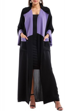 Black & Grape Purple Abaya Coat