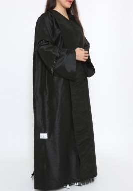 Black Crystal Details Oversized Abaya