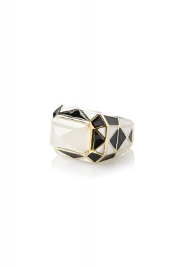 Op art black and white pyramid quartz harlequin enamel ring