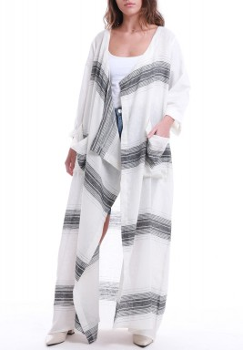 White Vertical Stripes Open Front Abaya