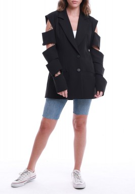 Black Cut-Out Sleeves Crepe Blazer