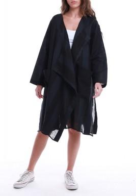 Black Striped Slit Cardigan
